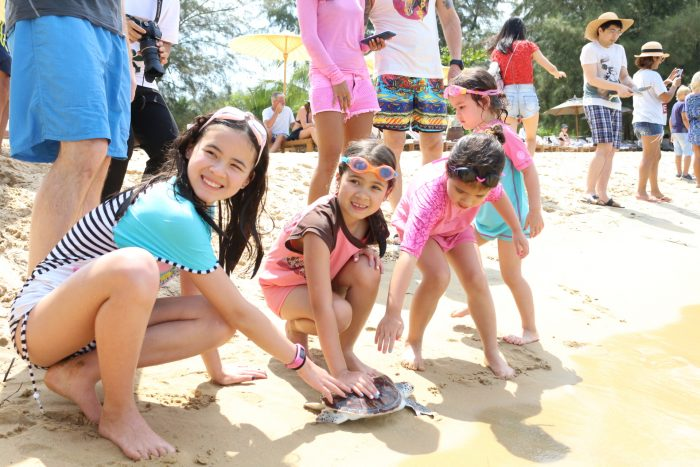 Anantara Baby Turtle Release - Group of guests (3)