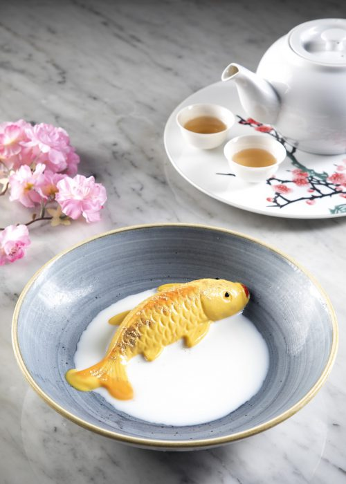 Chilled Mango pudding in fish shape