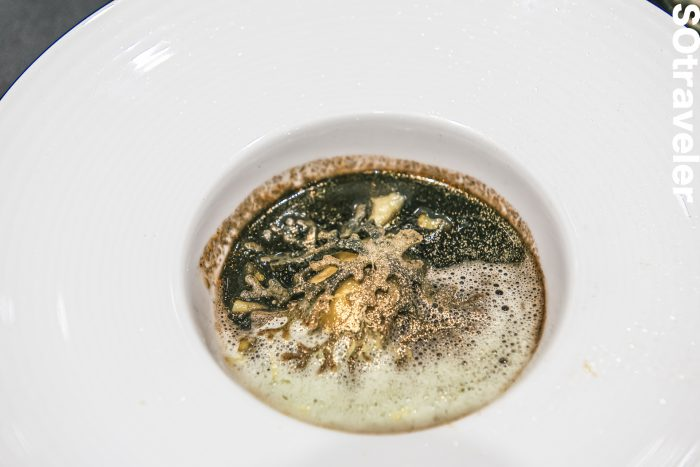 Bouillabaisse Black Ink Soup with Red Grouper Dumpling, Parsley Dill Foam and Seaweed Tuille
