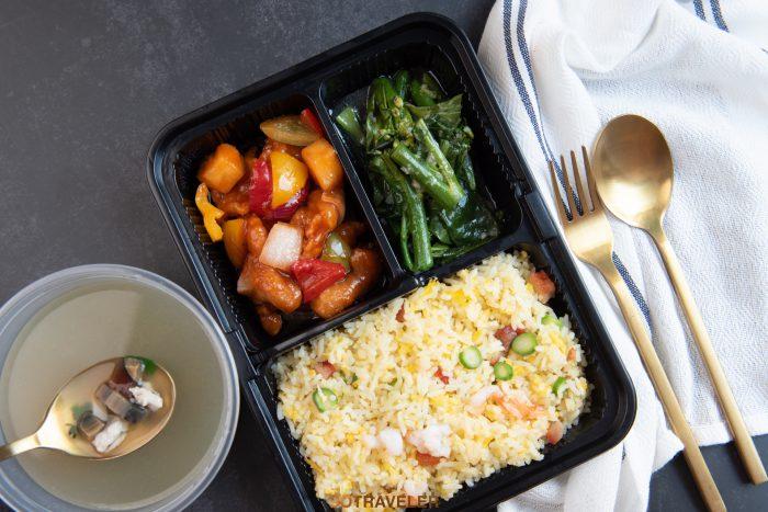 ข้าวผัดหยางโจว, หมูผัดซอสเปรี้ยวหวาน กระเทียมคะน้าฮ่องกง, ซุปหมูและไข่ (ราคา 180 บาทสุทธิ)