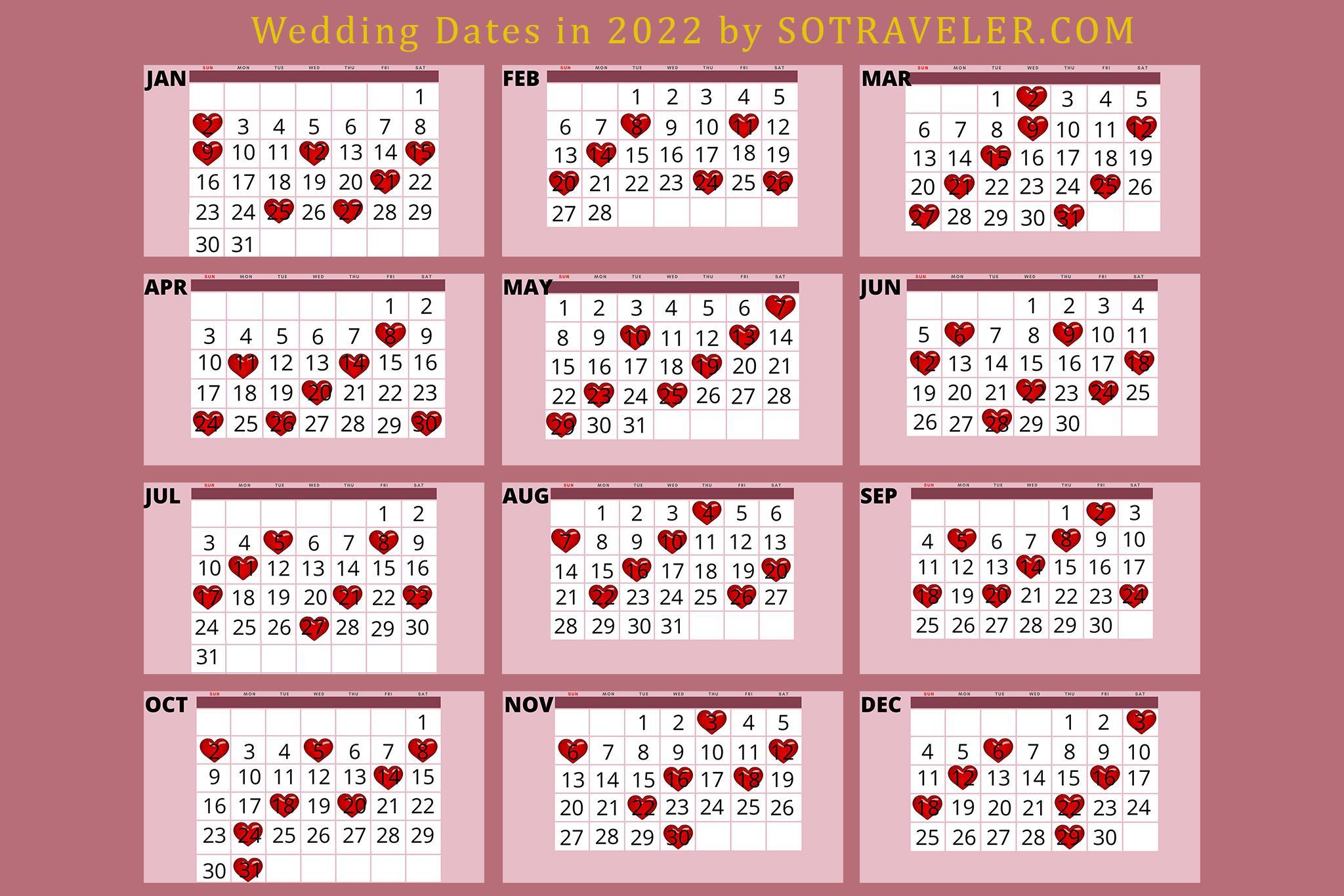 Wedding Dates in 2022